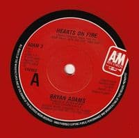 BRYAN ADAMS Hearts On Fire Vinyl Record 7 Inch A&M 1987 Red Vinyl